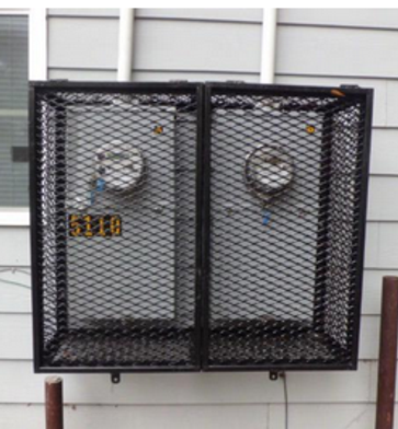 double utility meter cage closed